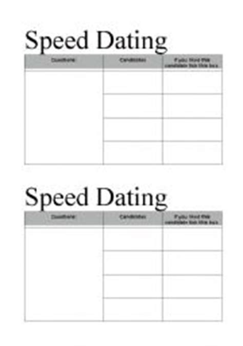 speed dating card template speed dating worksheets