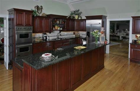 Cherry Wood Kitchen Cabinets With Black Granite Cherry Cabinets With Granite For The Home Cherry Cabinets Granite And