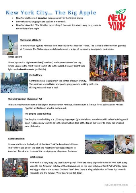 reading comprehension test new york new york city reading worksheet free esl printable