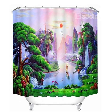 3d Shower Curtains by Mountain And Flowing Water Print 3d Bathroom Shower