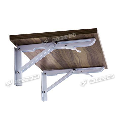 Wall Mounted Folding Shelf by 2x White Folding Triangle Angle 30x15cm Wall Mounted Metal