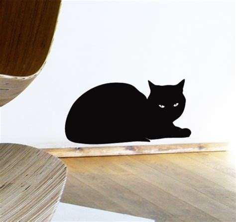 cat wall sticker black cat wall sticker relaxing sphinx cat decal