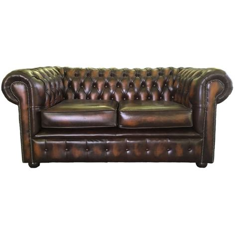 chesterfield leather sofas chesterfield antique brown genuine leather two seater sofa