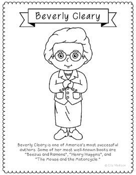 Beverly Cleary, Famous Author Information Text Coloring
