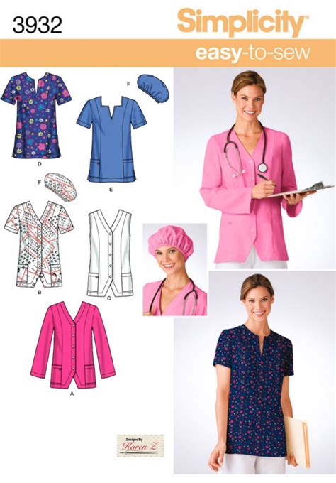sewing pattern uniform oop scrub uniform men women unisex simplicity sewing