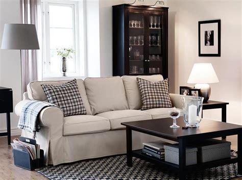 Ektorp 3 Sits Soffa Med Tygelsj 214 Beige Kl 228 Dsel Och Hemnes Living Room Table Ikea
