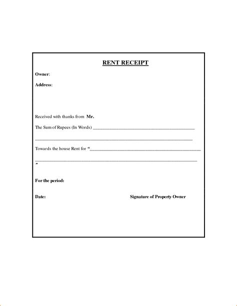 tenant rent receipt template tenant receipt of payment rental with