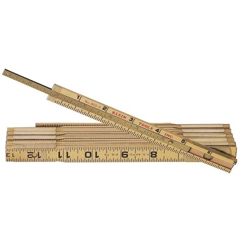 klein tools 6 ft wood folding ruler with extension 9056