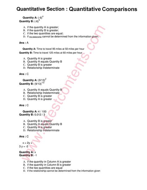 quantitative analysis questions and answers for nts