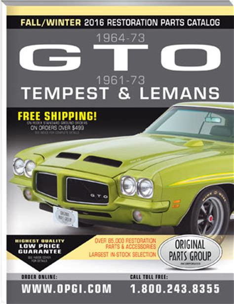 pontiac gto restoration parts free 1961 1973 gto lemans and tempest parts catalog