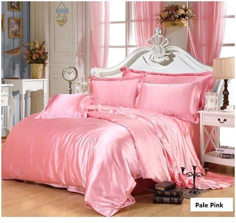 Pink Gold Silk Bedding Set Satin Super King Size Queen Pink And Gold Bedding Sets