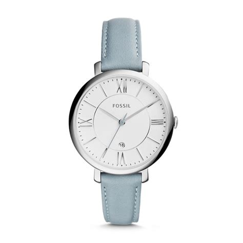 fossil me3101 silver blue leather jacqueline smokey blue leather fossil