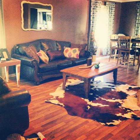 Cowhide Rug Living Room by Cowhide Rug Rustic Affordable Living Room For The