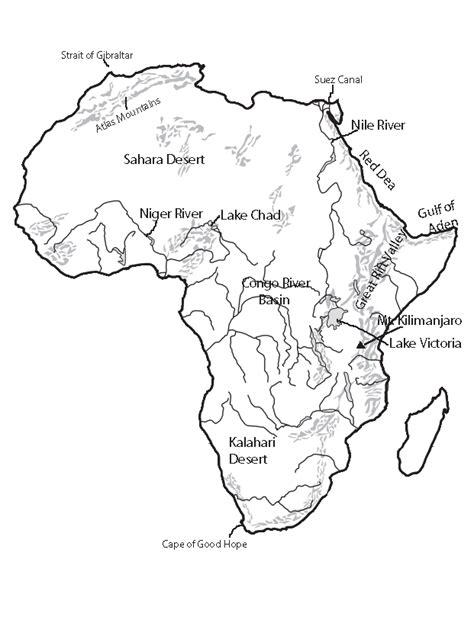 africa map black and white black and white physical map of africa www pixshark