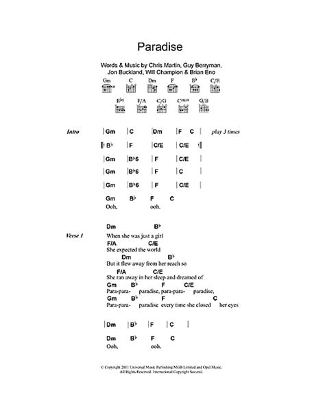coldplay paradise chord paradise partition par coldplay paroles et accords 112411