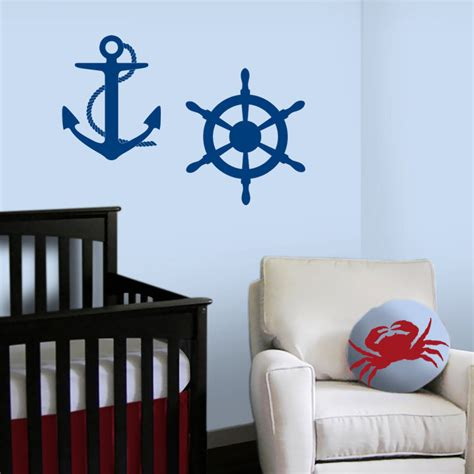 Nautical Wall Decals For Nursery Sailboat Nautical Nursery Ships Wheel And Anchor Decals