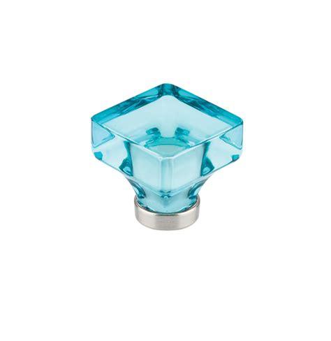 square glass cabinet knobs square cyan crystal lido cabinet knob medium