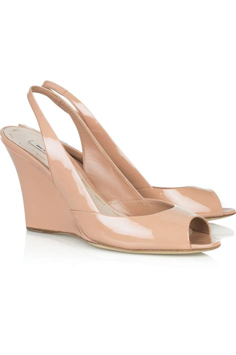 pink patent sandals miu miu patent wedge sandals in pink lyst