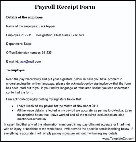 payroll receipt template sle payroll receipt form templatezet