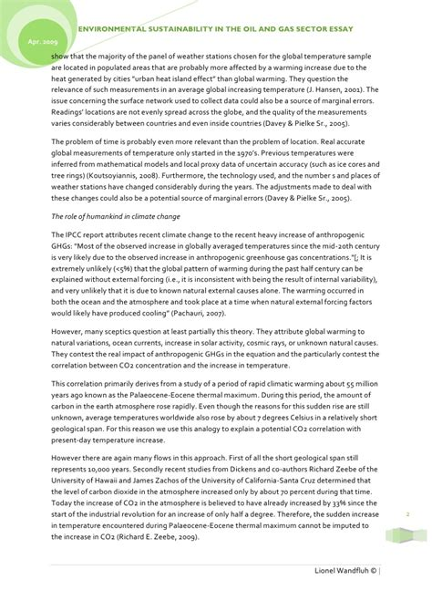 Environmental Sustainability Essay by Environmental Sustainability In The And Gas Sector Essay