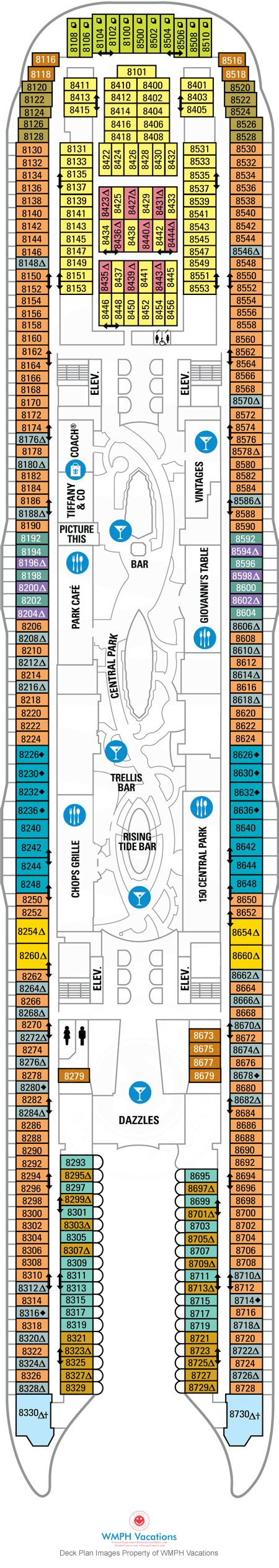 oasis of the seas floor plan oasis of the seas deck plans deck 8 what s on deck 8