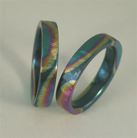 Handmade Wedding Bands For - ground texture rainbow color titanium handmade wedding