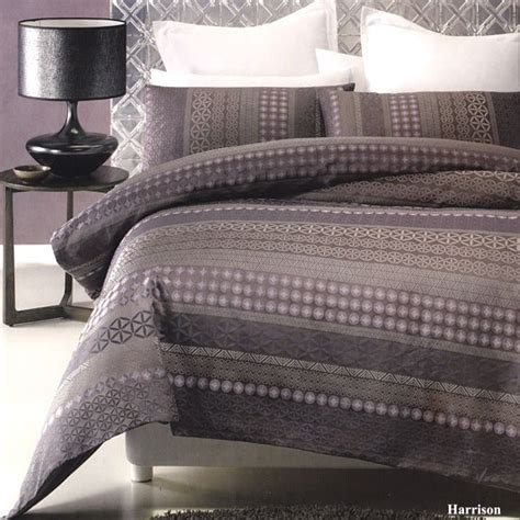 Grey Purple Duvet Cover harrison purple grey jacquard quilt doona duvet cover set new
