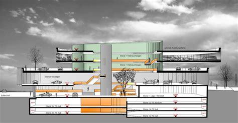 Stuttgart Audi Zentrum by Audizentrum Rosensteinpark Schnitt Architekturb 252 Ro