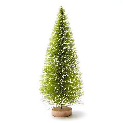frosted light green bottle brush trees christmas