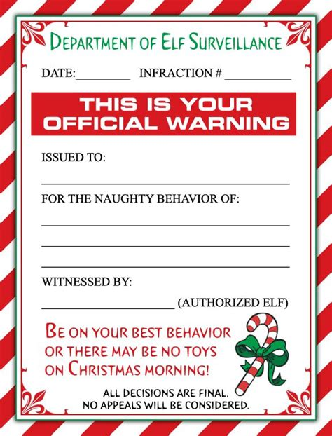 Free Printable Elf On The Shelf Warning Letter | naughty elf on the shelf