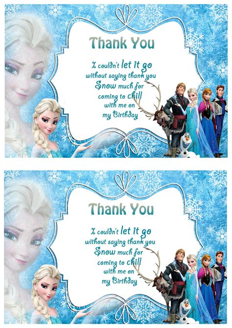 printable frozen thank you cards frozen thank you cards birthday printable