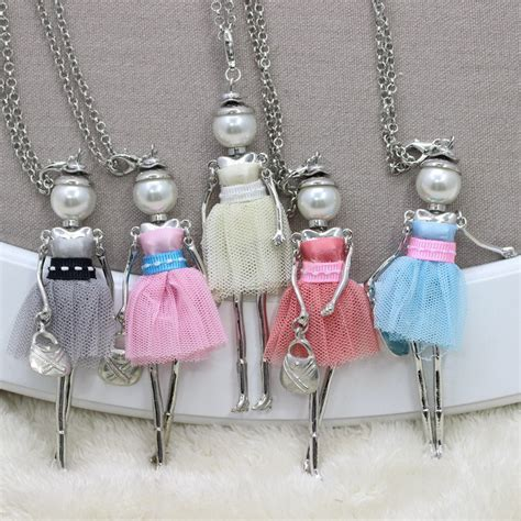 fashion doll necklace aliexpress buy 2015 lace dress dolls necklace
