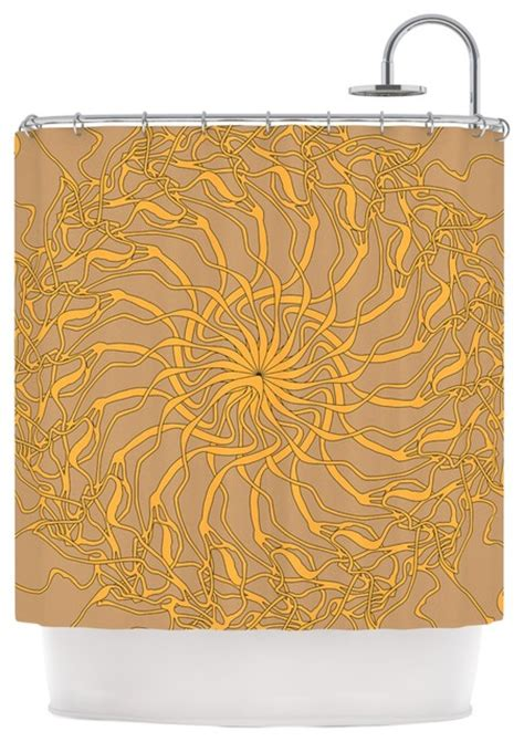 yellow brown shower curtain patternmuse quot mandala spin latte quot brown yellow shower