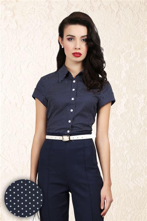 Reyn Shop Blouse Mimi Top Navy 50s virginia pindot blouse in navy