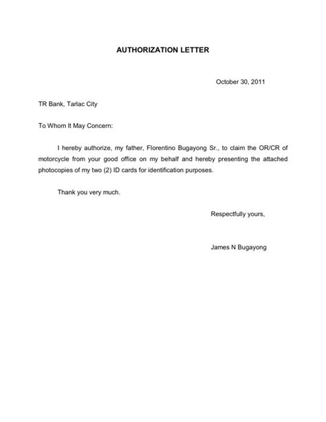Authorization Letter To Claim Salary Authorization Letter Motor Vehicle