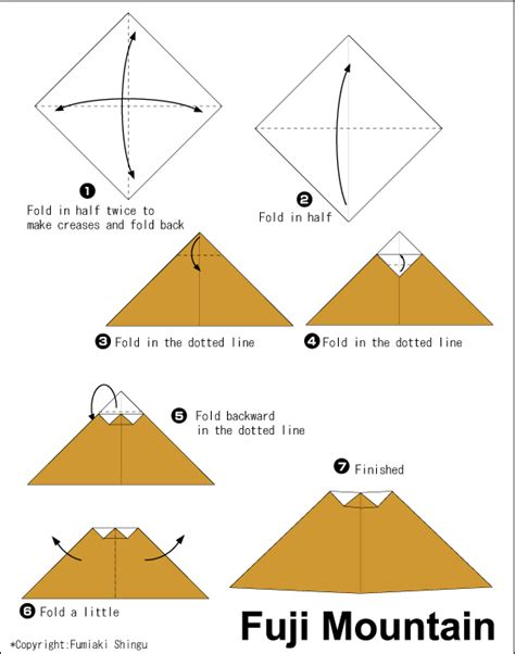 How To Make Paper Mountain - fuji mountain easy origami for