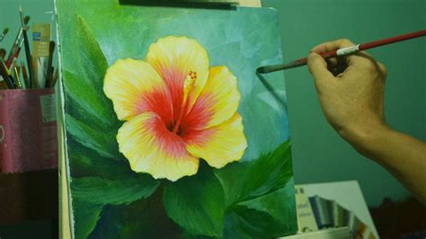 acrylic paint flowers acrylic painting lesson gumamela flower by jmlisondra