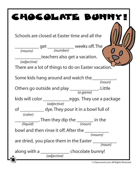 Mad Libs Letter Printable by Easter Mad Libs Chocolate Bunny Woo Jr Activities