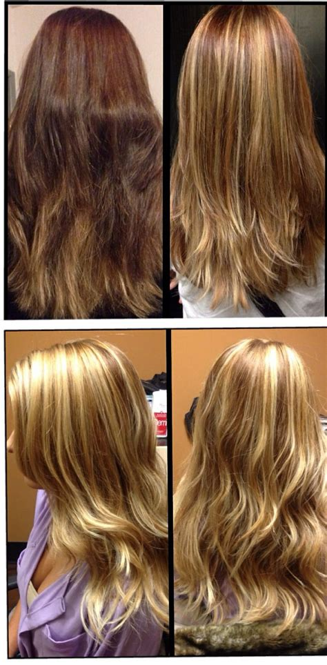 shooing after balayage brown to blonde hair before and after before after photos