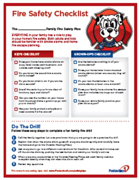fire safety plan for home fire safety checklist