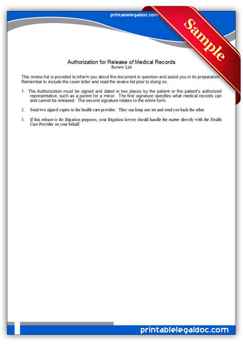 Free Records For Free Printable Authorization For Release Of Records Form Generic