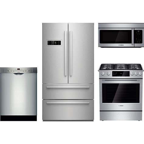 bosch kitchen appliance packages bosch 4 piece kitchen package with hgi8054uc gas range b21cl80sns refrigerator she3ar75uc