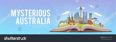 discover australia travel guide books travel australia road trip tourism open stock vector