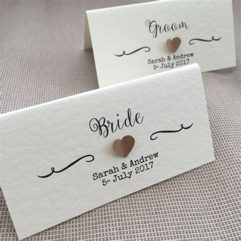Handmade Place Cards For Weddings - 10 handmade personalised name place cards vintage 3d