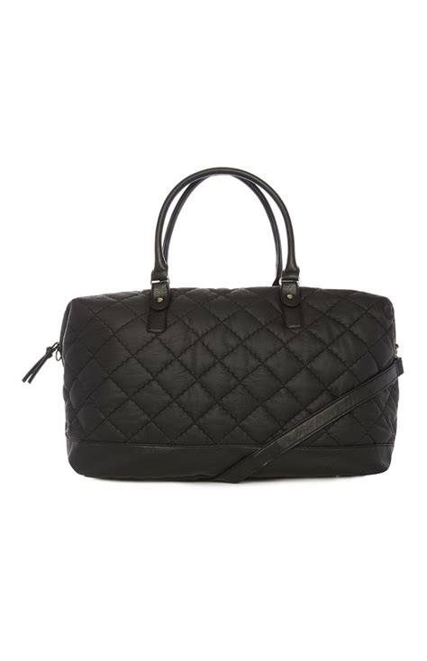 Quilted Weekender Bag by A Unique And Attractive Black Pu Quilted Weekender Bag For