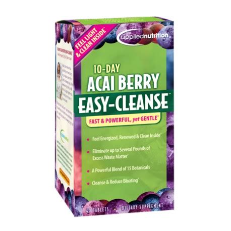 Garden Of 10 Day Gentle Detox Pills by 10 Day Acai Berry Easy Cleanse Applied Nutrition Dubai
