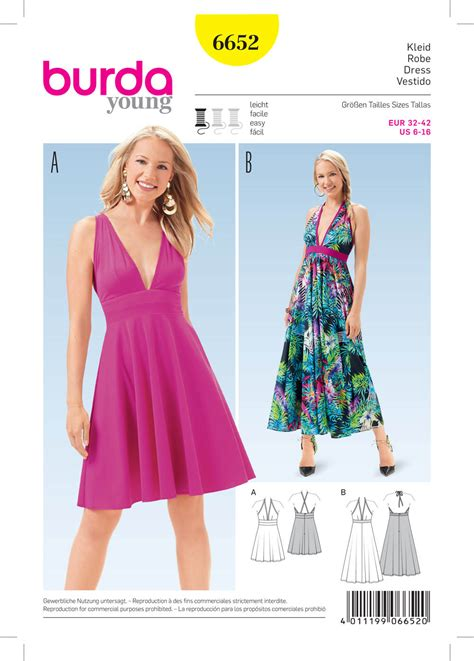 pattern sewing burda burda 6652 misses dress
