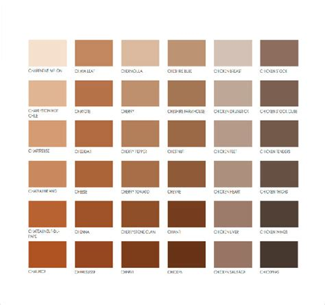 Pantone Brown | 15 word pantone color chart templates free download