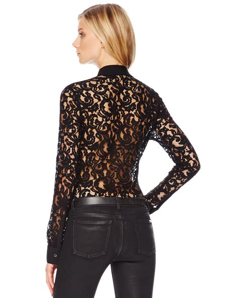 Mix Lace Shirt Black michael michael kors sheer lace blouse in black lyst