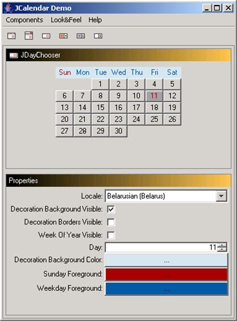 calendar in java swing java day chooser calendar 171 swing components 171 java